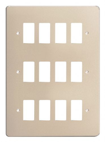 Varilight XDNPG12 PowerGrid Satin Chrome 12 Gang Grid Plate (Triple Twin Plate)
